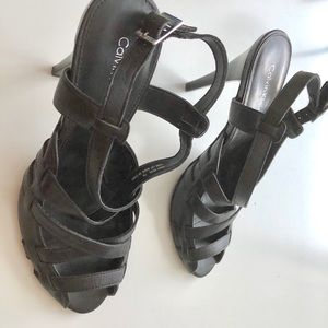 Calvin Klein Black leather high heel sandal